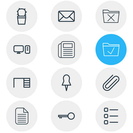 Vector illustration of 12 office icons line style. Editable set of mail, uninstall, computer and other icon elements.