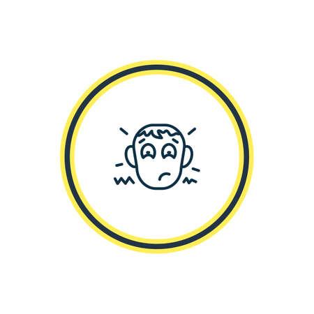Ilustración de vector de línea de icono de decepción. El elemento de emociones hermosas también se puede utilizar como elemento de icono preocupado.