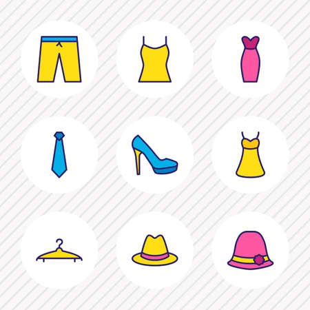 Vector illustration of 9 garment icons colored line. Editable set of hat, tank, women shoe and other icon elements.
