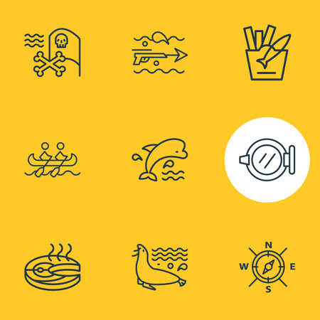 Vector illustration of 9 nautical icons line style. Editable set of fish steak, compass, ship window and other icon elements.