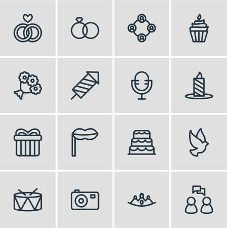 Vector illustration of 16 events icons line style. Editable set of drums, crown, fireworks and other icon elements.