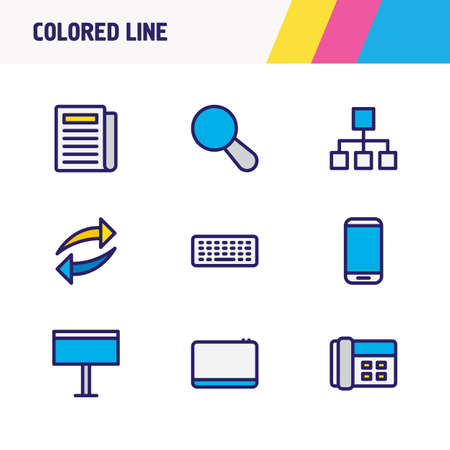 illustration of 9 music icons colored line. Editable set of refresh, structure, keyboard and other icon elements.