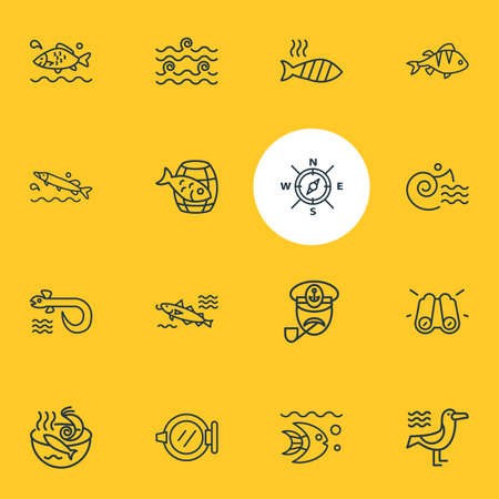 Vector illustration of 16 marine icons line style. Editable set of barrel of fish, binoculars, perch and other icon elements.