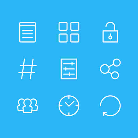 Vector illustration of 9 annex icons line style. Editable set of refresh, thumbnails, setting and other icon elements.
