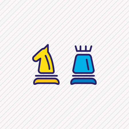 Vector illustration of chess icon colored line. Beautiful activities element also can be used as figure icon element. Çizim