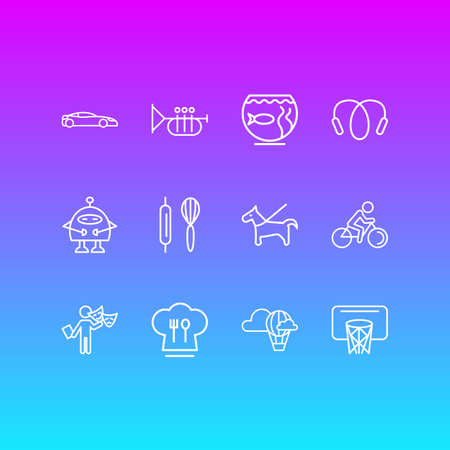 Vector illustration of 12 entertainment icons line style. Editable set of pet, biking, sport car and other icon elements.
