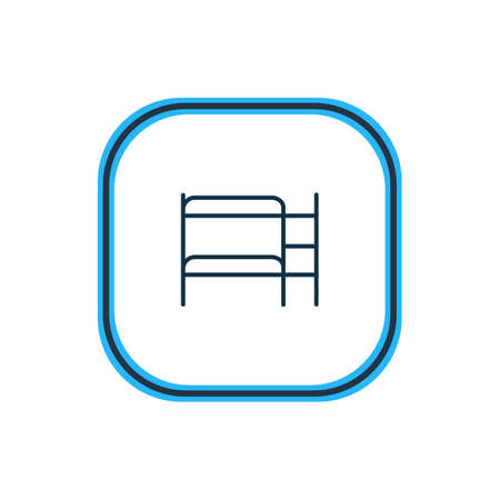 Vector illustration of double decker bed icon line. Beautiful hotel element also can be used as hostel icon element. Illustration