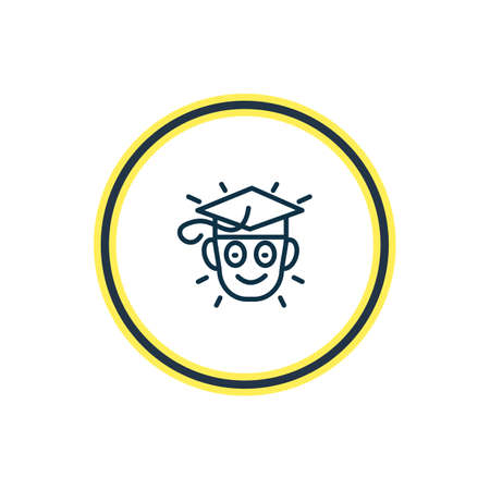 Vector illustration of learning icon line. Beautiful emoticon element also can be used as graduate icon element.