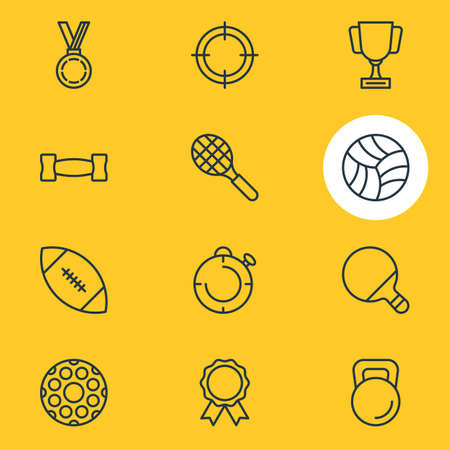 Vector illustration of 12 athletic icons line style. Editable set of golf, barbell, reward and other icon elements. Ilustração