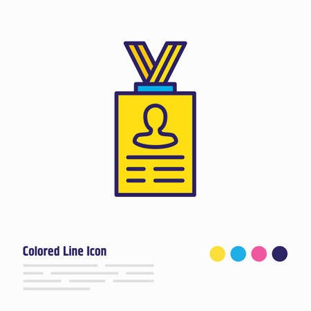 Vector illustration of personal information icon colored line. Beautiful privacy element also can be used as id card icon element. Ilustração