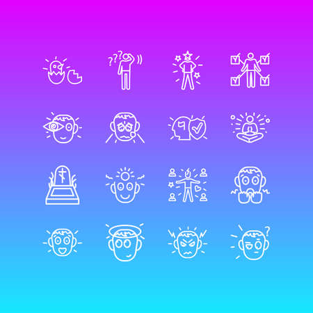 Vector illustration of 16 emoticon icons line style. Editable set of birth, innocent, vision and other icon elements.