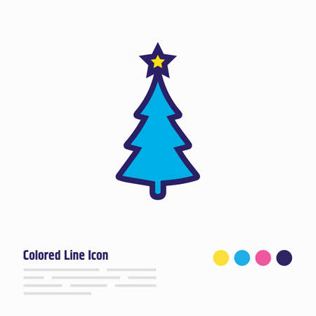 Vector illustration of christmas tree icon colored line. Beautiful event element also can be used as fir tree icon element.