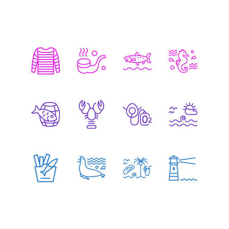 Vector illustration of 12 maritime icons line style. Editable set of lobster, fish with chips, oxygen mask and other icon elements.