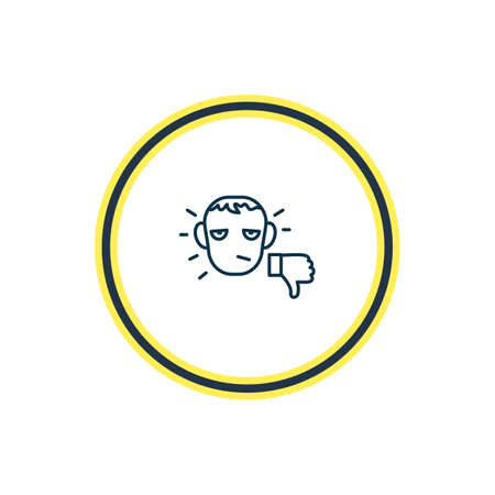 illustration of unsatisfied icon line. Beautiful emoji element also can be used as unlike icon element. Stock Photo