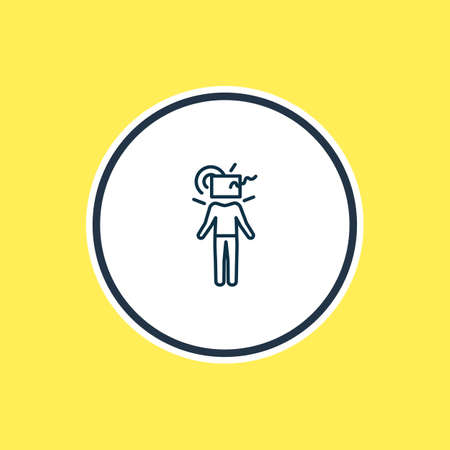 illustration of think outside box icon line. Beautiful emoji element also can be used as creative icon element.