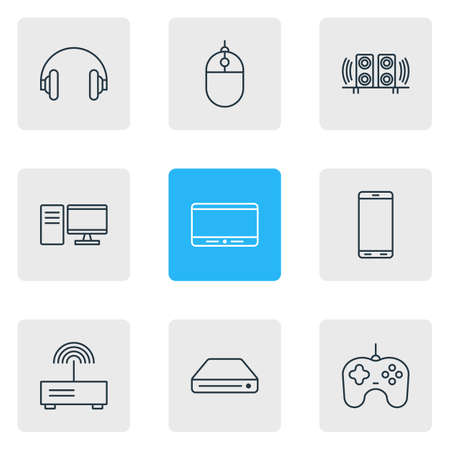 Vector illustration of 9 device icons line style. Editable set of cellphone, tablet phone, gamepad and other icon elements.
