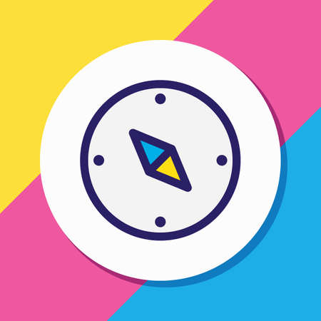 Vector illustration of compass icon colored line. Beautiful camp element also can be used as navigation icon element.
