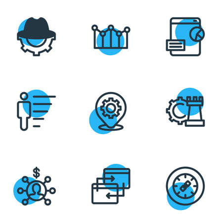 Vector illustration of 9 marketing icons line style. Editable set of affiliate marketing, game developing, adwords campaign and other icon elements. Illustration