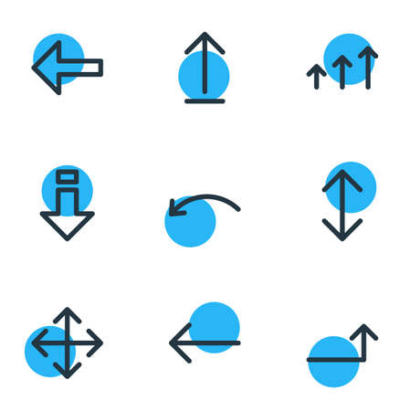 Vector illustration of 9 direction icons line style. Editable set of left, turn, backward and other icon elements.