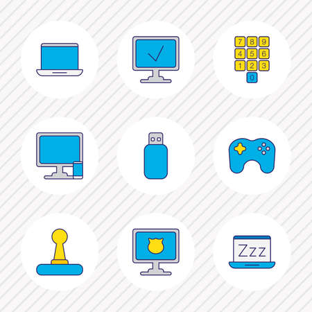 illustration of 9 computer icons colored line. Editable set of protected computer, computer with phone, laptop and other icon elements.