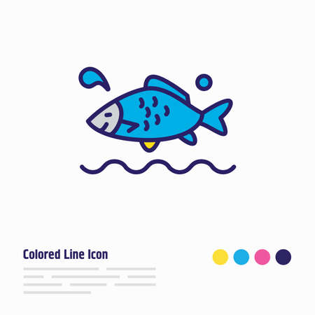 Vector illustration of aquatic icon colored line. Beautiful sea element also can be used as carp fish icon element. Ilustração