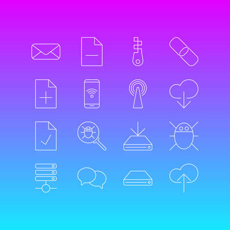 Vector illustration of 16 internet icons line style. Editable set of delete document, mail, antenna and other icon elements.