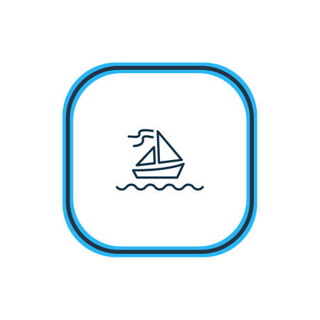 Vector illustration of sailboat icon line. Beautiful nautical element also can be used as yacht icon element.