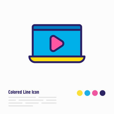 Vector illustration of movie on laptop icon colored line. Beautiful cinema element also can be used as watch icon element. Ilustração