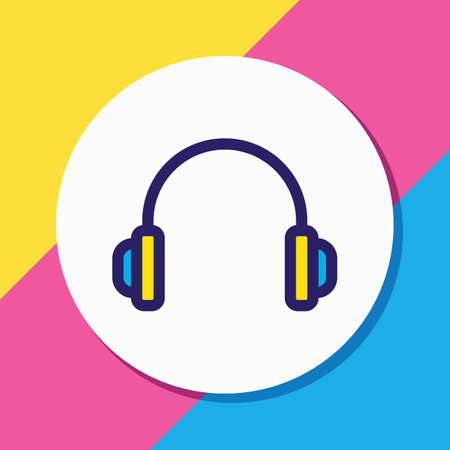 Vector illustration of headphones icon colored line. Beautiful lifestyle element also can be used as earphone icon element. Ilustração