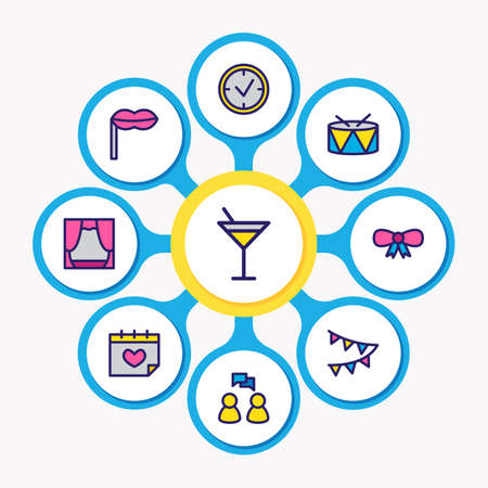 Vector illustration of 9 holiday icons colored line. Editable set of drums, calendar, timing and other icon elements.