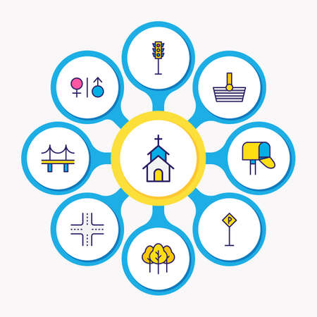 Vector illustration of 9 infrastructure icons colored line. Editable set of church, post box, parking sign and other icon elements.