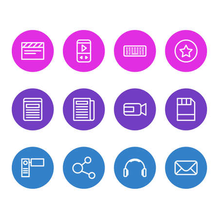 Vector illustration of 12 media icons line style. Editable set of player, video cam, headphone and other icon elements.