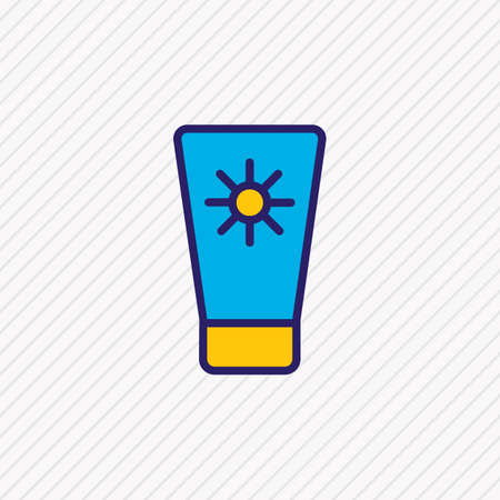 Vector illustration of sunscreen icon colored line. Beautiful hotel element also can be used as suntan icon element. Ilustração