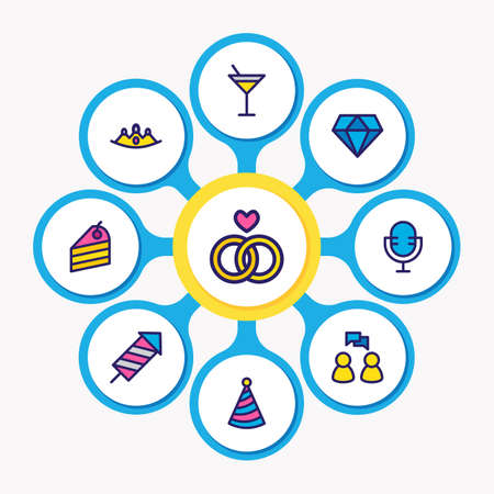 Vector illustration of 9 holiday icons colored line. Editable set of firecracker, crown, rings and other icon elements.