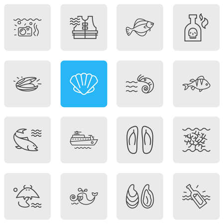Vector illustration of 16 marine icons line style. Editable set of perch, flip flops, mussel and other icon elements.