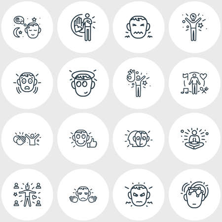 illustration of 16 emoji icons line style. Editable set of innocent, intelligence, satisfied and other icon elements.