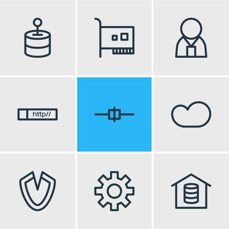 Vector illustration of 9 web icons line style. Editable set of web address, gear, controller and other icon elements.