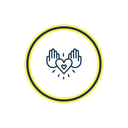 Vector illustration of charity icon line. Beautiful emotions element also can be used as save icon element.