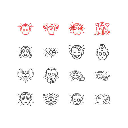 illustration of 16 emotions icons line style. Editable set of love, cognitive process, guilty and other icon elements.