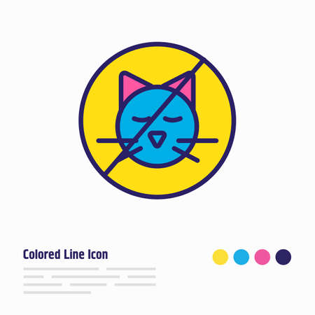 illustration of no animals icon colored line. Beautiful tourism element also can be used as stop cat icon element.