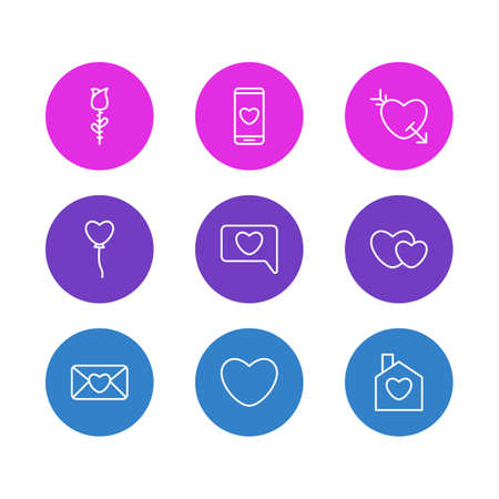 Vector illustration of 9 love icons line style. Editable set of phone, mail, soul and other icon elements.