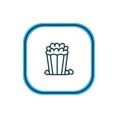 Vector illustration of popcorn icon line. Beautiful movie element also can be used as snack icon element. Illustration