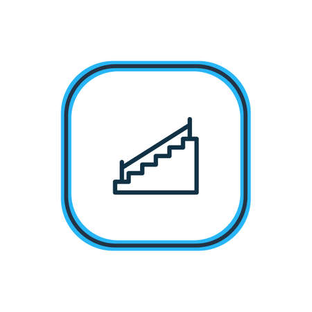 Vector illustration of stairs icon line. Beautiful construction element also can be used as stairway icon element.
