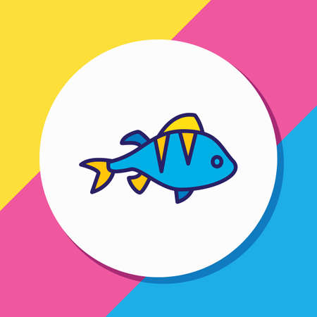 Vector illustration of perch icon colored line. Beautiful naval element also can be used as salmon icon element. Foto de archivo - 124747572