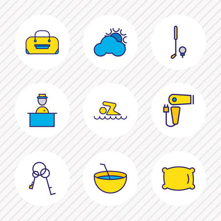 Vector illustration of 9 travel icons colored line. Editable set of pillow, hairdryer, baggage and other icon elements.