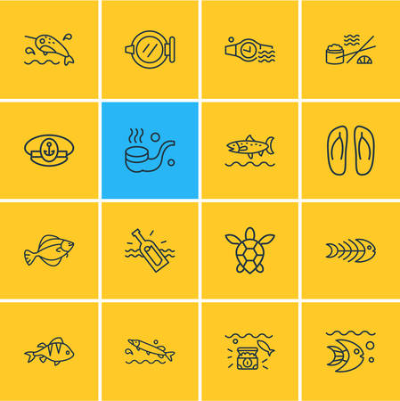 Vector illustration of 16 nautical icons line style. Editable set of perch, sushi, sea turtle and other icon elements. Foto de archivo - 124747575