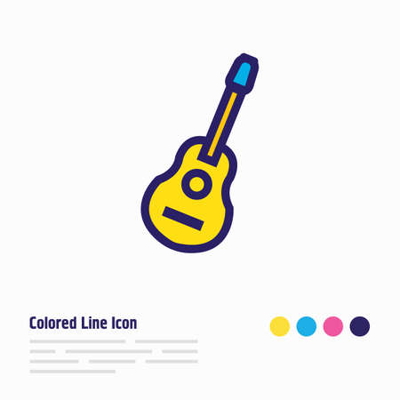Vector illustration of guitar icon colored line. Beautiful celebrate element also can be used as acoustic icon element. Illustration