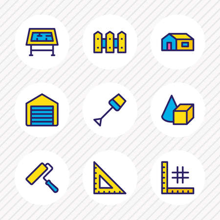 Vector illustration of 9 architecture icons colored line. Editable set of spade, ruler, planning and other icon elements. Ilustrace