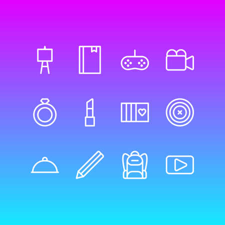 Vector illustration of 12 entertainment icons line style. Editable set of backpack, ring, aim and other icon elements.