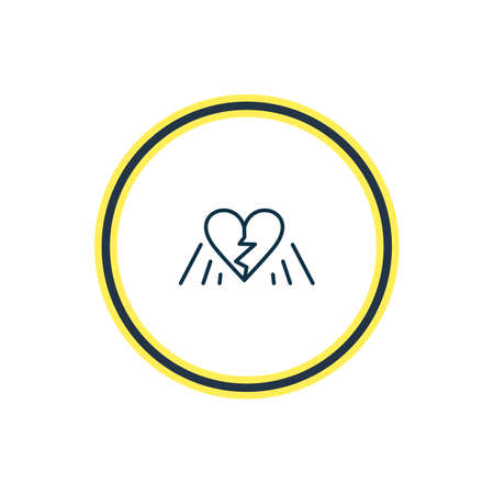 Vector illustration of broken heart icon line. Beautiful emotions element also can be used as divorce icon element. Illustration
